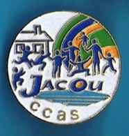 PIN'S //  ** C.C.A.S / JACOU HÉRAULT ** . (Ø 3 Cm) - EDF GDF