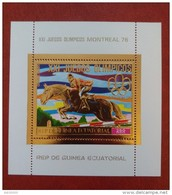 Equatorial Guinea 1976 - Olympics Montreal Deluxe Sheet Perf Mi 226 MNH - Gold Sports Horse Games Luxe Rare - Guinée Equatoriale