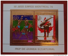 Equatorial Guinea 1976 - Olympics Montreal Deluxe Sheet Perf Mi 227 MNH - Gold Sports Horse Games Luxe Rare - Guinée Equatoriale