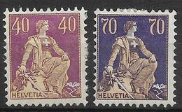 SVIZZERA 1924-25 Impostazione Helvetia 2v Nuovi , MH* - Svizzera