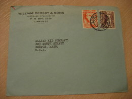 LIMA 1940 To Boston USA 2 Stamp On Cancel Air Mail Cover PERU - Peru