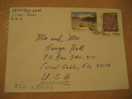 LIMA 19?? To Coral Glabes USA 2 Mountains Arqueology Stamp On Cancel Air Mail Cover PERU - Perù