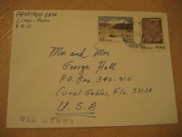 LIMA 19?? To Coral Glabes USA 2 Mountains Arqueology Stamp On Cancel Air Mail Cover PERU - Pérou