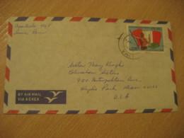 LIMA 1970 To Hyde Park USA Flag Stamp On Cancel Air Mail Cover PERU - Peru