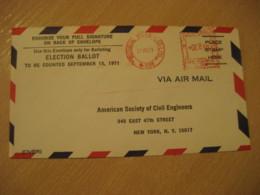 LIMA 1971 To New York USA Cancel Meter Air Mail Cover PERU - Pérou
