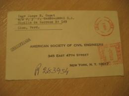 LIMA 1965 To New York USA Registered Cancel Meter Air Mail Cover PERU - Pérou