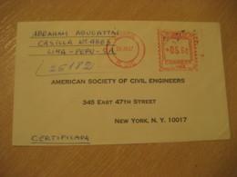 LIMA 1967 To New York USA Registered Cancel Meter Air Mail Cover PERU - Pérou