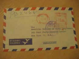 LIMA 1969 To New York USA Registered Cancel Meter Air Mail Cover PERU - Pérou