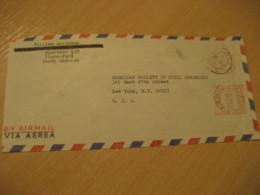 PIURA 1967 To New York USA Habilitado Tax Fiscal Stamp Reverse Cancel Meter Air Mail Cover PERU - Peru