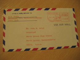 LIMA 1964 To North Quincy USA Cancel Meter Air Mail Cover PERU - Pérou
