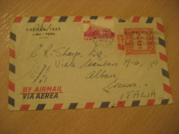 LIMA 1960 To Genova Italy Stamp Archeology Cancel Meter Air Mail Cover PERU - Pérou
