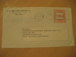 LIMA 1960 To Munchen Germany Archeology Cancel Meter Air Mail Cover PERU - Pérou