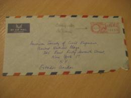 Aeropuerto LIMA Airport 1968 To New York USA Cancel Meter Air Mail Cover PERU - Peru