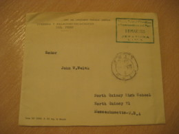 Jefatura LIMA 1955 To North Quincy USA Cancel Postage Paid Museo Postal Filatelico Museum Cover PERU - Pérou