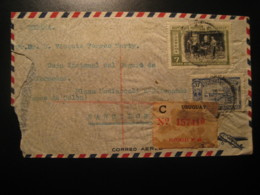 MONTEVIDEO 1923 To Barcelona Spain 2 Stamp Registered Cancel Air Mail Cover URUGUAY - Uruguay