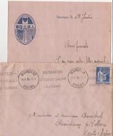 Courrier + Enveloppe 1938 / Ecusson 60 ème RI Ancre Marine / Coeur / 25 Besançon Doubs - Documents