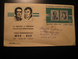 VUELO MVD - BUE Flight Montevideo 1967 To Buenos Aires Argentina Imperforated Bloc FDC Cancel Air Mail Cover URUGUAY - Uruguay