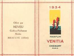 - Ref CH381-parfumerie-carte Parfumée 2 Volets -8cms X5cms Chaque Volet-parfum Venitia -cheramy Paris -calendrier 1934- - Cartes Parfumées