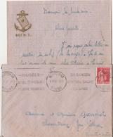 Courrier + Enveloppe 1937 / Ecusson 60 ème RI Ancre Marine / Carte De Coeur / 25 Besançon Doubs - Documents