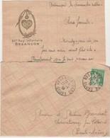 Courrier + Enveloppe 1939 / Ecusson 60 ème RI / Corde Coeur & Laurier / 25 Besançon Doubs - Documents