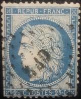 FRANCE Y&T N°60C Cérès 25c Bleu. Oblitéré Losange GF2 - 1871-1875 Cérès