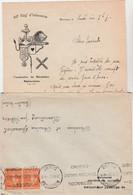 Courrier + Enveloppe 1937 / Ecusson 60 ème RI / Ancre Marine, Carte Coeur, Lion / 25 Besançon Doubs - Documents