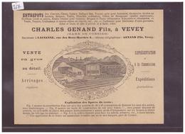 FORMAT 16x12cm - VEVEY - CHARLES GENAND Fils - ENTREPOTS DE CIMENTS - B ( PLI VERTICAL AU MILIEU ) - VD Vaud