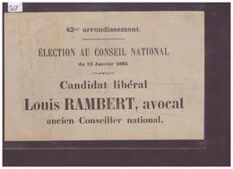 FORMAT 16x11cm - ELECTION AU CONSEIL NATIONAL - CANDIDAT LOUIS RAMBERT - ( PLIS ) - VD Vaud