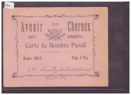 DISTRICT DE VEVEY - Ste INSTRUMENTALE AVENIR DE CHERNEX - CARTE DE MEMBRE PASSIF - TB - VD Vaud