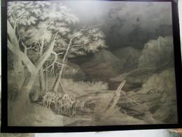 Grote Oude  Negatief   ( Celluloid ) Van Een Schilderij - Photographie
