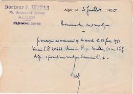1950 / Contrôle Sanitaire Frontière Algérie / 2 Cachets Du Contrôle / Dr Witas 25 Bd Carnot à Alger - Algérie (1924-1962)