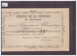 DISTRICT DE VEVEY - MONTREUX - CERCLE DE LA REUNION - QUITTANCE - TB - VD Vaud