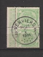 COB 83 Oblitéré VERVIERS 2 F En Paire - 1893-1907 Wappen
