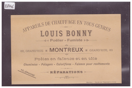 DISTRICT DE VEVEY - MONTREUX - LOUIS BONNY, APPAREILS DE CHAUFFAGE - TB - VD Vaud