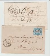 """CANTAL : """" ST FLOUR """" CàD Type 13 + TT 8 Annulé Puis Confirmé De 1838 & G.C 3599 + CàD 16 De 1871 / 2 LSC B/TB - Marcophilie (Lettres)"""
