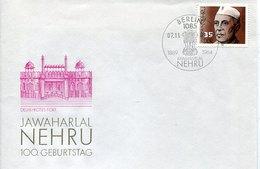 41608  Germany Ddr,  Fdc 1989  Jawaharlal Nehru 100 Year - Célébrités