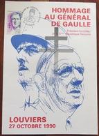 Hommage Au Général De GAULLE - Louviers 27 Octobre 1990 - Timbre + Cachet Postal - Programme - Cf 2 Photos - Eure 27 - France