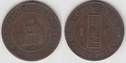 French Indo-China 1 Cent 1887 KM#1 - Used - Colonie
