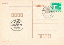 "DDR Amtl. GZS-Postkarte P89 10Pf. Grün Mit Blindperforation ""Palast Der Republik, Berlin"" ETSt 6.2.90 BERLIN ZPF - Cartes Postales - Oblitérées"