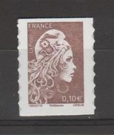 FRANCE / 2018 / Y&T N° AA 1596 ** : Marianne D'YZ (adhésif De Feuille) 0.10 € X 1 - Autoadesivi