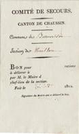Rare Bon Imprimé 1812 / Comité De Secours De Beauvoisin, Canton De Chaussin 39 Jura / Bon Pour X Rations / Non Utilisé - Historical Documents