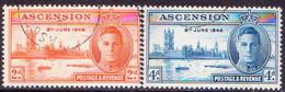 1946 ASCENSION SG #48-49 Compl.set Used Victory - Ascension (Ile De L')