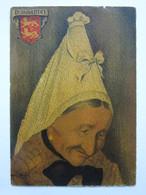 André Stéfan, Personnage Traditionnel, Coiffe De La Région D'Evreux, Normandie - Künstlerkarten