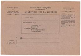 RARE Carte Franchise / Bulletin Santé Militaire Blessé Ou Malade  / Ministère Guerre / / Pour Prévenir La Famille - 1914-18