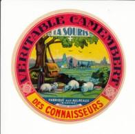 Etiquette De Fromage Camembert Des Connaisseurs - La Souris - Les Aulneaux - Sarthe. - Fromage