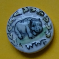 Fève - Animaux - WWF 1986 Gravé Au Dos - Hippopotame - Animaux