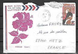 Polynésie Française Lettre Par Avion Du 18 08 1975  De Papeete Vers Metz - Polynésie Française