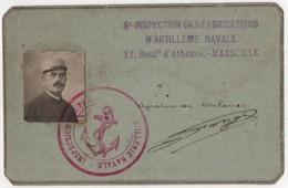 Carte De Circulation Militaria WWI 1917 Marine Artillerie Navale Toulon Marseille Cachet - 1914-18