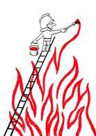 Pie-19-030 :  ATTENTION PEINTURE FRAICHE. PAR LEO KOUPER. POMPIER - Firemen
