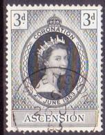 1953 ASCENSION SG #56 3d Used Coronation - Ascension (Ile De L')